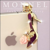 Ip156 High Heel Shoe Crystal Anti Dust Plug Cover Charm Iphone Android 3.5mm