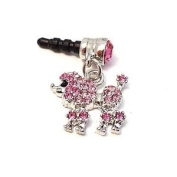 WirelessGeeks247 For Apple iPhone 4S 15.1lxy S Cell Phones & MP3s PINK POODLE Rhinestone 3.5mm Headset Headphone Plug Jack Charm + Metallic Detachable STYLUS TOUCH PEN