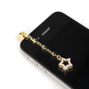 Gold Plated Open Star Chain iPhone and Smartphone Anti Dust Plug Cover Stopper