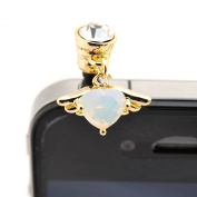 iPhone and Smartphone Anti Dust Plug Cover Stopper White Diamond Wing