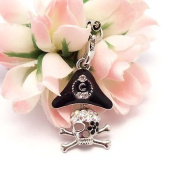[WG] Pirate (Skull with Black Hat) Cell Phone Charm Strap Cubic Stone Rhinestone + Free WIRELESSGEEKS247 Detachable Neck Strap / Lanyard