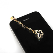 Gold Plated Open Butterfly iPhone and Smartphone Anti Dust Plug Cover Stopper