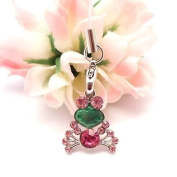[WG] Pink Big Eye Frog Cell Phone Charm Strap Cubic Stone Rhinestone + Free WIRELESSGEEKS247 Detachable Neck Strap / Lanyard