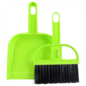 Gino Green Black Plastic Bristle Car Computer Fan Blade Brush Dustpan Cleanner Set