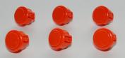 6 pc Set of Orange Sanwa Push Buttons OBSF-30-O