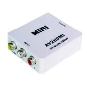 Generic HDV-M615 Mini AV to HDMI Upscaler Box 1080P Converter Adapter Colour White
