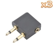 . 3pcs x 3.5mm Female To Dual 3.5mm Male Airline Headphone Adapter For Aeroplanes/Flying