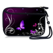 Purple Butterfly Waterproof Portable 6.4cm Neoprene Soft Carrying Case Pouch Sleeve With External pocket for Hard Drive HDD Data cable,U disc, GPS and other Accessories