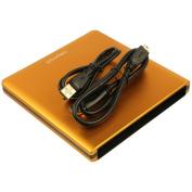 Pawtec Signature Slim Aluminium USB 3.0 External Enclosure For Optical SATA Drive Blu-Ray DVD MAC / PC - ORANGE