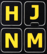 ENGLISH US LARGE LETTERS BLACK-YELLOW KEYBOARD STICKERS EXELLENT FOR LOW VISION CONTRAST colours