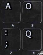 DVORAK NON TRANSPARENT FOR COMPUTER KEYBOARD WITH BLACK BACKGROUND
