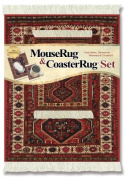 Lextra® (Freud), MouseRug® & CoasterRug® Set, rust and cream, 26cm x 18cm , one MouseRug and one matching CoasterRug