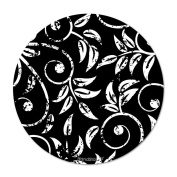 HandStands Black & White Leaves Deluxe Round Mouse Pad