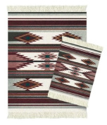 Lextra Earthtone Southwest MouseRug and CoasterRug Set, 26cm x 18cm , Burgundy, Grey and Cream, One MouseRug and One Matching CoasterRug