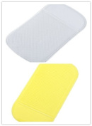 HPP Magic Anti-slip Dashboard Adhesive Mat/ Sticky Pad for Cell Phone, Cd, Electronic Devices, Washable- Clear+ Yellow Colour Set of 2