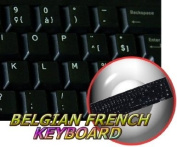 REPLACEMENT BELGIAN FRENCH KEYBOARD STICKERS BLACK BACKGROUND FOR DESKTOP, LAPTOP AND NOTEBOOK