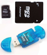 Komputerbay 1GB MicroSD with SD Adapter and Blue USB SD Reader
