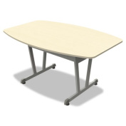 Linea Italia TR724OAT Trento Line Conference Table, 59w X 39-1/2d X 29-1/2h, Oatmeal/metallic Grey