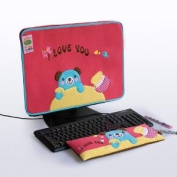 [Blue Bear-Red] Embroidered Applique Fabric Art 43cm Monitor Screen Cover & Wrist Rest Pad