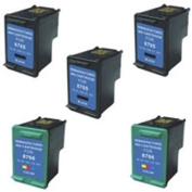 Amsahr 94(C8765WN) Remanufactured Replacement HP Ink Cartridges for Select Printers/Faxes with 3 Black and 2 Colour Ink Cartridges