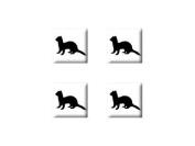 Ferret Weasel - Set of 4 Badge Stickers