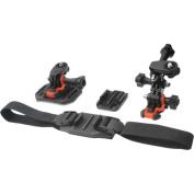 Vivitar - Pro Series Curved Helmet Flat Surface + Vented Helmet Mounts for GoPro + All Action Cameras