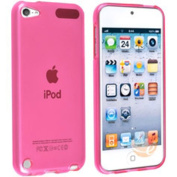 eForCity - TPU Rubber Skin Case compatible with Apple iPod touch 5th Generation, Frost Clear Hot Pink
