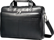 Samsonite - Leather Slim Laptop Briefcase - Black