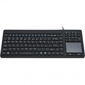 USB KB-IKB-107 Silicone Waterproof Keyboard with Touchpad - Black