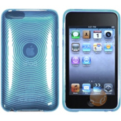 eForCity - TPU Rubber Skin Case Compatible with Apple iPod touch 2nd / 3rd Gen, Clear Blue Concentric Circle