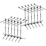 Seismic Audio - 12 Pack - Dual Tripod Microphone Stand with 5 Mic Clips
