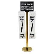 Wet Umbrella Bag Stand, 16w x 12d x 54-1/2h, Brass-Plated Metal