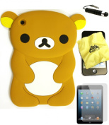 Bukit Cell (TM) BROWN Bear 3D Cartoon Soft Silicone Skin Case Cover for Apple IPAD MINI (16GB 32GB 64GB WiFi and 4G / LTE Versions) + BUKIT CELL Lint Cleaning Cloth + Screen Protector + METALLIC Detachable Touch Screen STYLUS PEN with Anti Dust Plug [b ..