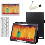 BIRUGEAR SlimBook Leather Folio Stand Case with Keyboard, Screen Protector for Samsung Galaxy Note 10.1 2014 Edition - 3.1m Android Tablet