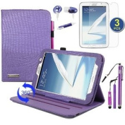 BIRUGEAR Rotating Auto Sleep/ Wake Stand Case with Screen Protector, Stylus, Headset for Samsung Galaxy Note 8 GT-N5100 / GT-N5110 20cm Andriod Tablet ---