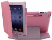 iPearl MagicFold Hard Cover Case for NEW iPad 4 (Retina display & Lightning connector), iPad 3 & iPad 2 with 30-pin connector, with Built-in sleep/wakeup function and Touch Screen Stylus Pen - PINK
