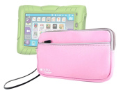 DURAGADGET Pink Water Resistant Neoprene Carry Case With Front Pocket For Kurio 18cm Android Tablet For Kids + BONUS Blue Stylus Pen