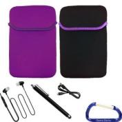 Reversible Neoprene Sleeve Cover Case, USB Cable, Earphone, Stylus, with Gizmo Dorks Key Chain for the Zeepad 7.0 Tablet - Purple Black