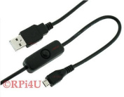 Raspberry Pi Micro USB Cable with ON/OFF Switch - Easy Start / Reboot !