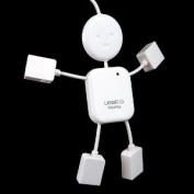 4 Port USB 2.0 High Speed Hub for PC Laptop Doll Man Design White