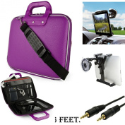 Purple CADY Leather Hard Shell Cube Carrying Shoulder Bag For Amazon Kindle Fire HD HDX 23cm Tablet + Includes a Windshield Car Mount with Auxiliary Cable