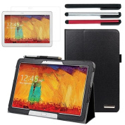 BIRUGEAR SlimBook Leather Folio Stand Case with Stylus Pen, Screen Protector for Samsung Galaxy Note 10.1 2014 Edition - 3.1m Android Tablet