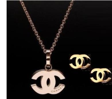 Coco Chanel Rose Gold Logo Necklace Earrings Set Https Www Fishpond Co Nz Jewellery 9999247081098