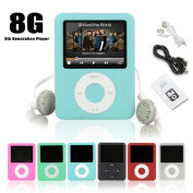 Ravo New MP3 MP4 Player(3th Gen) 8GB with LCD Screen FM Radio Games & Movie Player - Light Blue