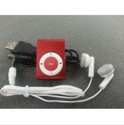 Littlelink Mini Metal Clip on USB Mp3 Music Player Support 2gb 4gb 8gb Micro Sd Tf Card Multimedia Red
