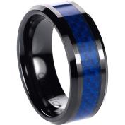 Daxx Men's Ceramic Blue Carbon Inlay Ring