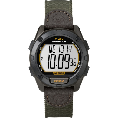 Timex Men's Expedition Digital CAT Watch, Green Nylon/Leather Strap