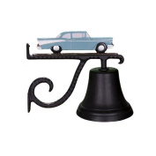 Montague Metal Cast Bell with Teal Classic Car Ornament
