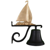 Montague Metal Cast Bell with Gold Sailboat Ornament
