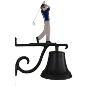 Montague Metal Cast Bell with Colour Golfer Ornament